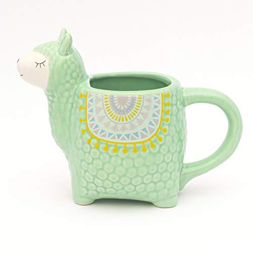 Fluffy Dreams - Die große Lama-Alpaka 3D Tasse Becher Mug aus Keramik in Mint grün| handbemalter Trendartikel für Lama-Alpaka Liebhaber | fasst ca.350 ml Kaffee, Tee, Kakao in Geschenkverpackung