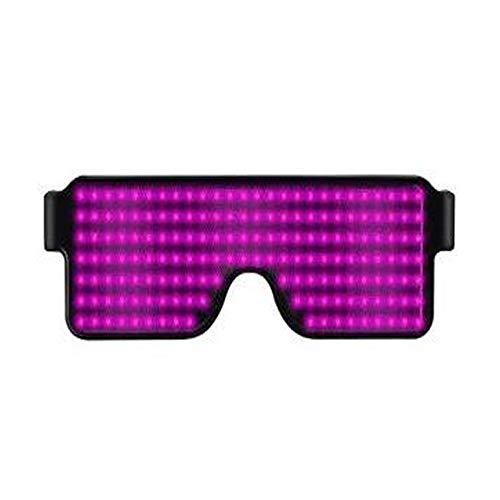 Kostüm Katze Rave - Relubby Aufladen Von LED Leuchtbrillen, 8 Dynamische Muster Mit Quadratischen Leuchtenden Brillen, USB Weihnachtsparty Bars Rave Festival Requisiten,Purple