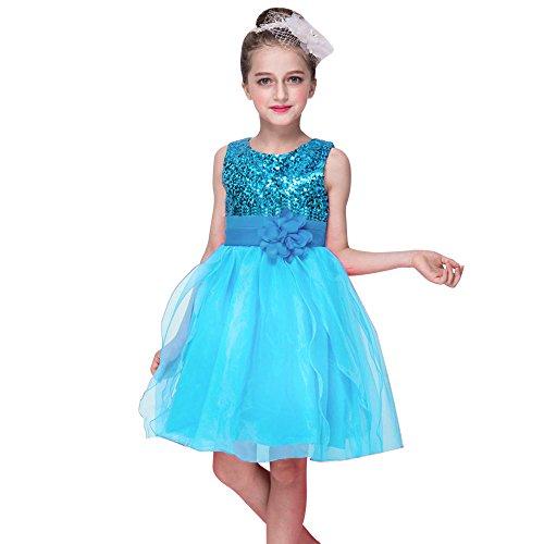 (Kleider Kinderbekleidung Honestyi Kleinkind Baby Mädchen Bling Pailletten Sleeveless Tutu Prinzessin Kleid Outfits Kleidung Mädchen Pailletten Prinzessin Kleid Rock (Himmel blau,L))
