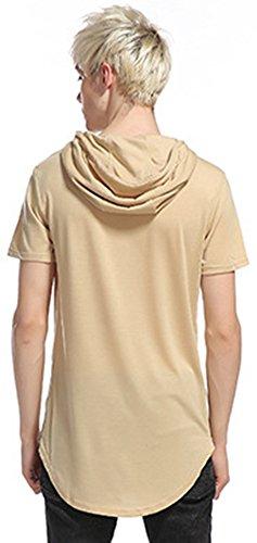 Whatlees Herren Urban Basic reguläre Passform lang arm Langes T-shirt mit Kapuzer und seitlichen Reißverschlüssen B498-Khaki