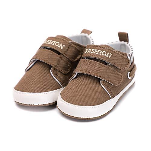 Sixminyo Neugeborene Segeltuchschuhe, Baby-Jungen-Mädchen-Kleinkind-Turnschuhe Rutschfeste erste Wanderer-Turnschuhe (Color : Brown, Size : 12cm)