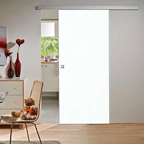 inova Holz-Schiebetür 880x2035mm Weiß Zimmertür Innentür Komplettset mit Laufschiene & Holztür, Quadratgriff