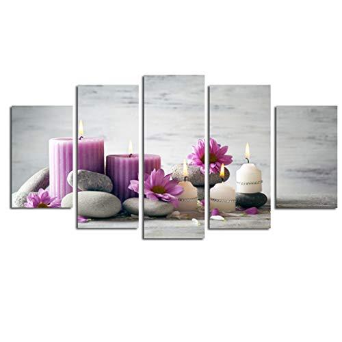 Flushzing Unframed 5 Verkleidungs-lila Blumen-Kerze-Ölgemälde No Frame Öl Bild Schlaf dekorative Wand Poster Malerei - Wand-poster-frames