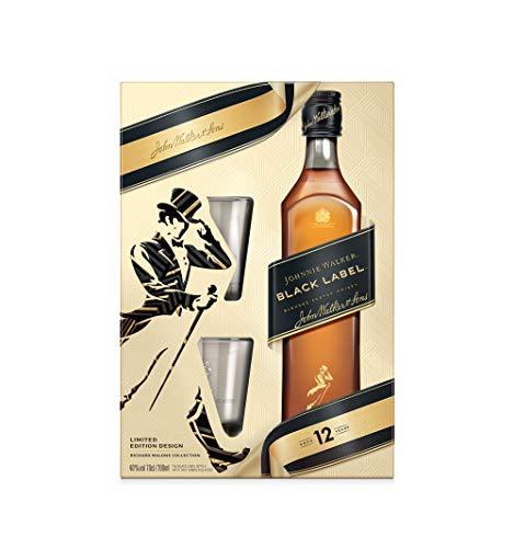 Johnnie Walker Black Label, Geschenkpackung mit 2 GläsernBlended Whisky (1 x 0.7 l)