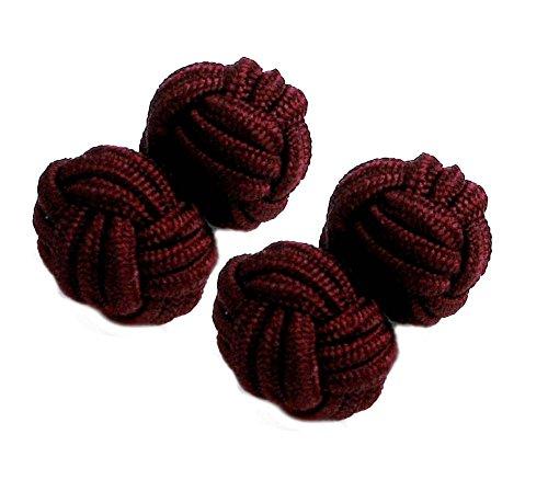 Seidenknoten burgund weinrot bordeaux 1 Paar für Umschlagmanschette ca. 11 mm + Geschenkbox