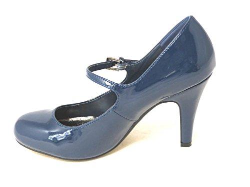 Femme Mesdames Chaton Talon Escarpin Mary Jane Bureau Soirée Travail Dolly Sangle antidérapante sur cour Chaussures Taille Navy (3870-1)