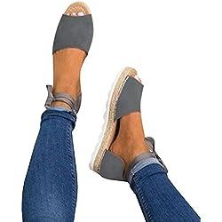 Minetom Sandalias Mujeres Bohemia Verano Planos Moda Casual Elegante Peep Toe Shoes Zapatos De Playa Color Caramelo Sandals Gris EU 42