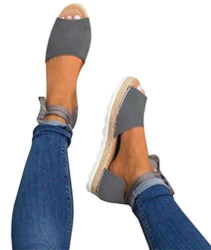 Minetom Femme Poissons Bouche Sandale Chaussures De Plage Talon Plate Printemps Été Bohême Shoes Mode Décontractée Couleur De Bonbon Gris EU 38