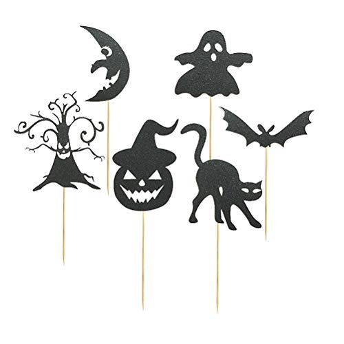 chendeckel Cupcake Topper Dessert Kuchen Picks für Halloween Party Supplies 6 stücke (Schwarz) ()