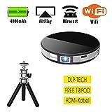 Unbekannt Beamer Mini DLP Video Projektor Pico Tragbar, WiFi 4000mAh Wiederaufladbar 100 Zoll R6, HDMI USB Micro-SD Audio, inkl. kostloses Stativ 1080P für Handy Smartphone Heimkino Party Familie