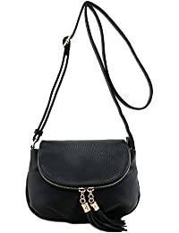 Deluxity Tassel Accent Small Half Moon Crossbody Bag