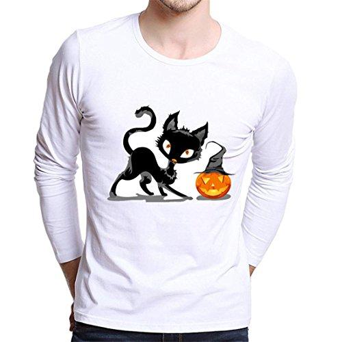 Cargo Plus Größe Shorts (Halloween Hemd Herren Btruely Sim Drucken Shirt Beiläufig Langarm Bluse O-Ausschnitt Top Plus Größe (XXL, Weiß))