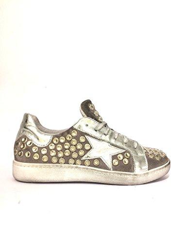 Sneakers DVsmt-05 in pelle borchiate Divine Follie basse grigio, 39 MainApps