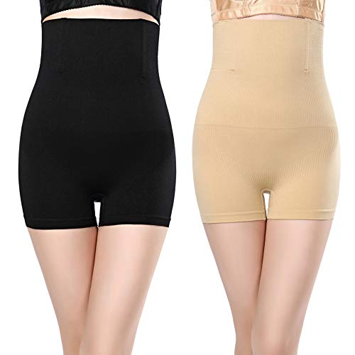 2pcs Noir + Chair Gaine Amincissante Ventre Plat Panty Gainant Culotte Gainante Sculptante Minceur Taille Haute Invisible,2pcs(noir+chair),XL/XXL(40/46)