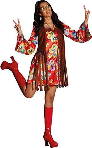 Hippie Kostüm Nancy Größe 40 buntes Kleid mit brauner Weste Flower Power Party 70er Jahre (40) (70er Jahre Kleid Kostüm)