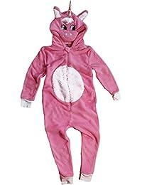 TopsandDresses Kinder Jungen Mädchen Tier Overall flauschig Fleece Mops Teddybär AFFE Dalmatiner Schaf Gorilla in Kinder 2 Jahre -13 Jahre