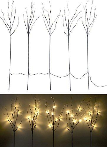 Lunartec LED Dekozweige: 5 Deko-Zweige, je 36 Kunststoff-Knospen & 6 LEDs, batteriebetr, Timer (Lichterbäume)