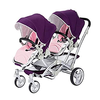 Xiao ping One-button Folding Twin Stroller Can Sit On Reclining Double Children's Trolley ( Color : 1 )