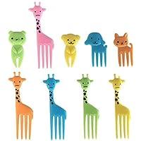 Hosaire 10 Stück Gabeln Tierform Kunststoff Besteck Kreativ Mini Obst Gabel Kuchengabeln,Kuchengabel
