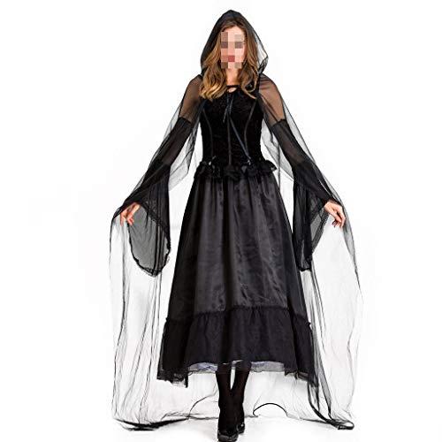 Ghost Für Kostüm Damen Bride Erwachsene - KODH Neue Damen Halloween Kostüme Erwachsene Rave Party Kostüme Rollenspiel Hexen Lange Röcke mit Umhang Maskerade Vampire Ghost Bride Kostüme (Color : Black, Size : XL)