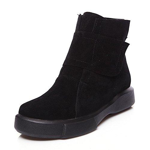 Hsxz Femmes Nubuck En Cuir Polaire Chaussures Automne Hiver Mode Bottes Bottes Bootie Ronde Plat Orteil Cheville Bottes / Bottines Pour Bureau Bito Carrière Noir