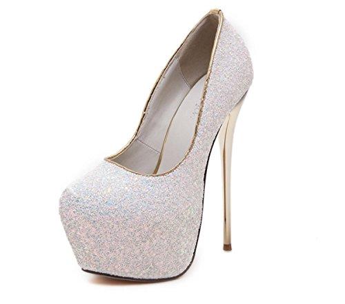 Damen Pumps Stiletto High Heel Schuhe Plattform Runde Toe Sequins Schwarz Weiß Sommer Abend Prom, White, EUR 36/ UK 3.5 - Sequin Platform Wedge