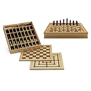 Coffret en bois 3 jeux en 1 échecs, dames, moulin, plateau réversible