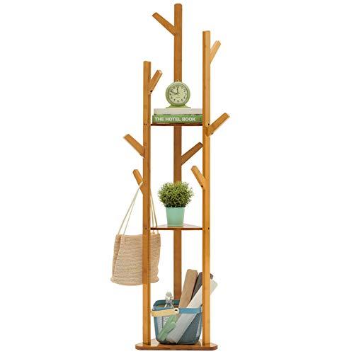 Madera sólida Perchero de pie, Moderno Soporte de árbol Perchero con Ganchos y estantes de Almacenamiento 3 Niveles, Múltiples Funciones Independiente Minimalista-A 170x40cm(67x16inch)