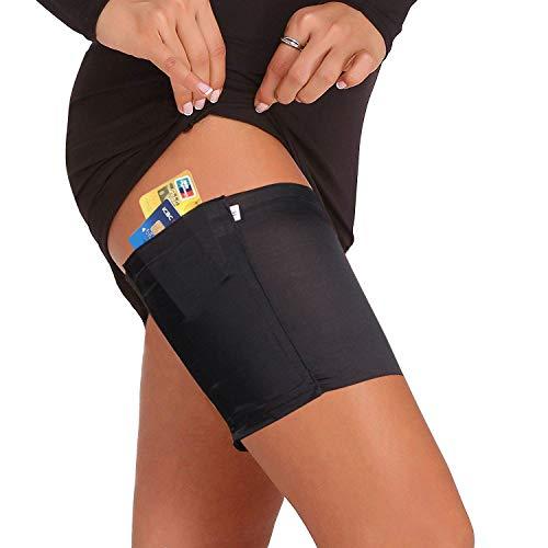 Memoryee Damen Elastic Anti-Chafing Rutschfeste Sport-Oberschenkelbänder Telefon-Sicherheitstasche/Sport bänder-schwarz-1 Paar/L(64-68cm)