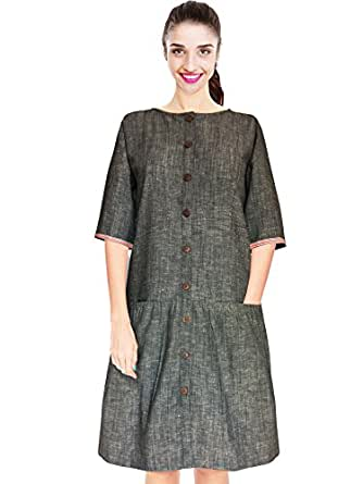 BEFORE|AFTER BeforeAfter Charcoal Grey A-line Knee Length Cotton Summer Dress with Pockets for Women (X-Small)