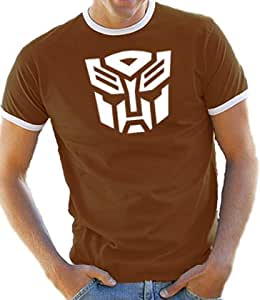 Touchlines Herren Kontrast / Ringer T-Shirt Transformers, brown/white, S, D1026