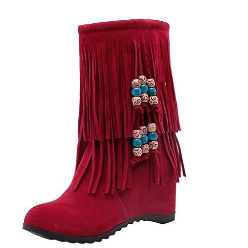 ABsoar Mittellange Stiefel Damen Bequeme Warme Stiefel Erhöhen Plattform Schuhe Quasten Keilschuhe Winterstiefel Schneestiefel Freizeitschuhe -