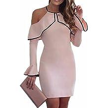 Fastar vestidos fiesta para mujer vestido de manga larga de hoja de loto sin tirantes colgando