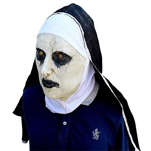 The Nun Scary Mask The Conjuring 2 Cosplay Valak Horrible Latex Masks with Headscarf Full Face Helmet Halloween Latex Scary Mask,as The Picture (Full Movie 2 Halloween)