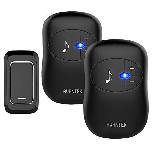 Wireless Doorbell, AVANTEK Digital Loud Door Bell Kit, 1000ft / 300m Range, 1 Touch Button & 2 Plug in Receivers, LED Flash CD Quality 36 Chimes, 4 Adjustable Volume Levels, Black