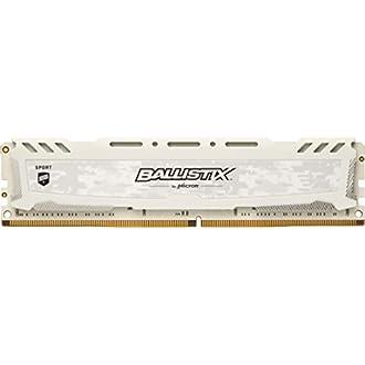 Crucial Ballistix Sport LT BLS16G4D26BFSC 2666 MHz, DDR4, DRAM, Mémoire pour PC de Gamer, 8Go, CL16 (Blanc)