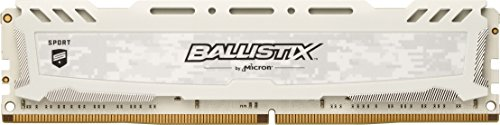 Ballistix Sport LT BLS4G4D240FSC Memoria da 4 GB, DDR4, 2400 MT/s, PC4-19200, Single Rank x8, DIMM, 288-Pin, Bianco