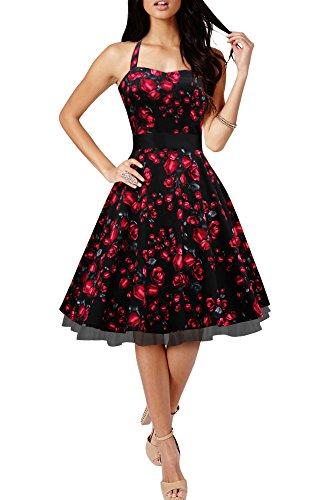 BlackButterfly 'Rhya' Vestido Vintage De Los Años 50 Harmony (Rosas Rojas, ES 36 - XS)