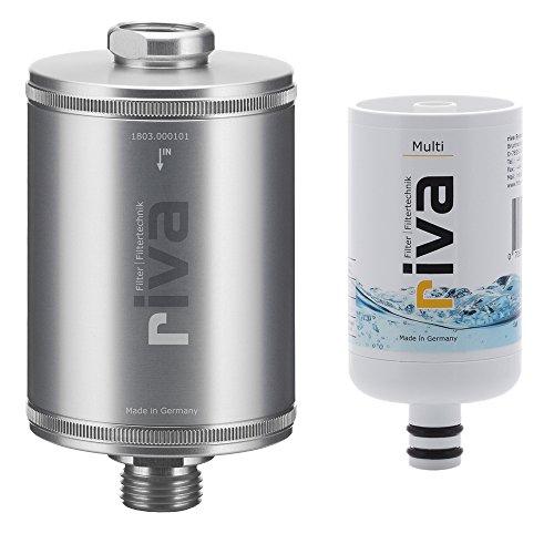 riva Filter   Duschfilter-Set MULTI   WASSERFILTER - Zertifizierter Schutz vor Legionellen, Bakterien und Keimen in Küche und Bad   Silber