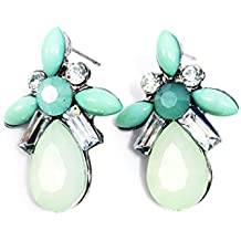 Babysbreath Mujeres Chicas Elegante Pendientes Pendientes Cristal Pendientes Pendientes Verde