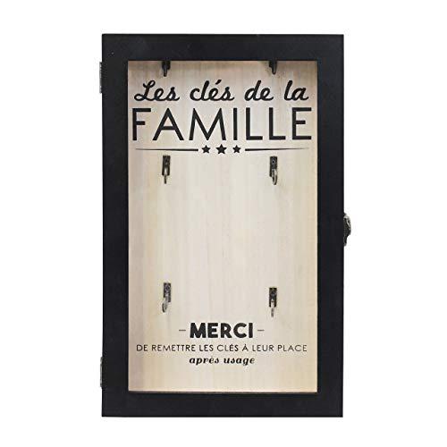 THE HOME DECO FACTORY HD4678 Boite à Clés, Bois, Beige-Noir, 19,5 x 5 x 30 cm
