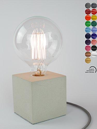 Home Designerlampe aus Beton, Nachttisch-Leuchte, Schreibtisch-Lampe oder für den Boden, Cube-Lampe...