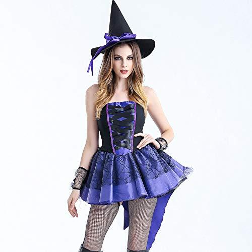 Goblin Kostüm Für Erwachsene - wojiaxiaopu Halloween Hexe Kostüm Studentin Erwachsene Sexy Hexe Kostüm Cos Cosplay Maskerade Kostüm Blau S