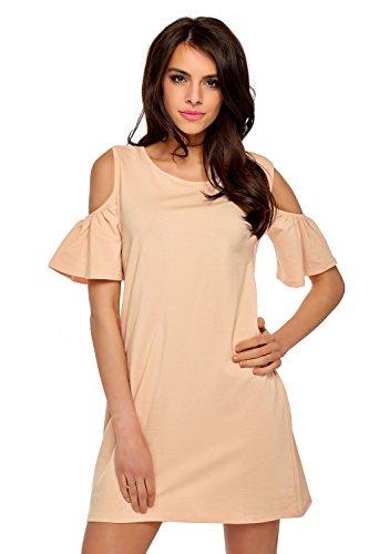 Damen Kleid Sommer Kleid Schulterfreies Longshirt Tuniken Damen Kleider Sommer Kurz (661) Puderrosa
