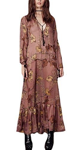 CuteRose Women Flower Print Fringe Beachwear Flyaway Casual Long Maxi Dress Coffee S (Petite Top Halter Print)
