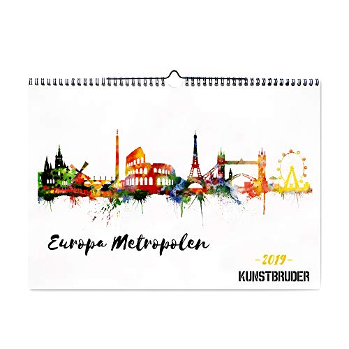 Angebot Wandkalender 2019 Europa Skylines Kalender 2019 - Kunstkalender in A4 Querformat mit den besten und schönsten europäischen Skylines Bildern - Jahreskalender für zuhause (Europa Metropolen A4)