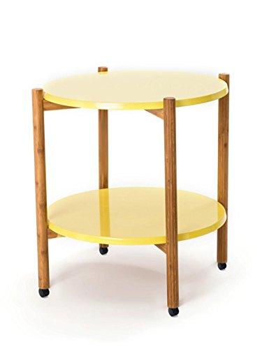 simple Rond de bambou 2-tier mobile Pot à fleurs plateau de l'étagère de rangement de rangement de stockage en matières premières étagère salon table basse Simple étagère de pot de fleur