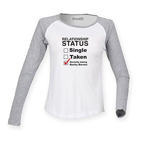 Mentally Dating Bucky Barnes Damen Langarm Baseball T-Shirt - Weiss & Grau XL ( UK Größe 16 ) (Shirt Tee Womens Fitted Baseball)