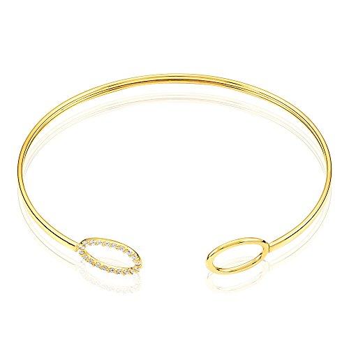 HISTOIRE D'OR - Bracelet Jonc or et Oxyde - Femme - Or jaune 375/1000