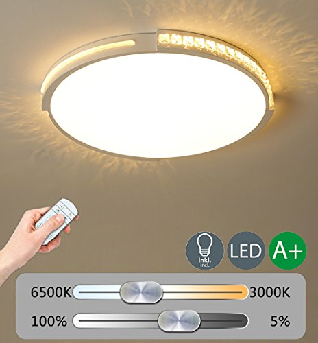 Modern LED Decken Beleuchtung Kreative Design Deckenleuchte Dimmbar Deckenlampe Kristall Dekoration Innenbeleuchtung Hochwertigem Wohnzimmer Leuchte Schlafzimmer Lampe Weiß Acryl Lampenschirm 36W